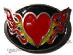FLAMING HEART Belt Buckle + display stand